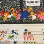 シーツ&ハンドメイド素材  動物たちのお勉強 布製 絵本用 ファブリック