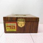 その他  ファイルボックス ティン製 ウッド風加工 1970年代