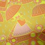 イベント  ラッピングペーパー レトロカラー雨と女の子