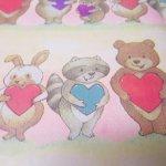 バレンタイン  ラッピングペーパー 小動物とハート