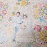 イベント  ラッピングペーパー ビーズプリント花嫁と花婿 結婚式