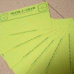 未使用  メモカード 1980年代 新聞風 Thank-U-Gram 7枚セット