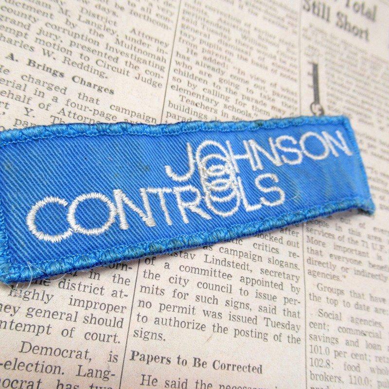 ワッペン Johnson Controls 青 長方形