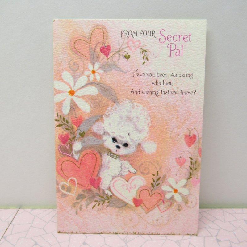 バレンタインカード Secret Pal ホワイトプードル