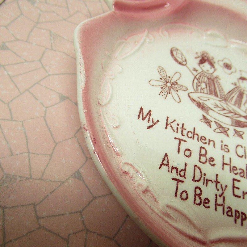 スプーンレスト 壁掛け ピンクキッチン 米国輸出用日本製 ラベル付【画像6】