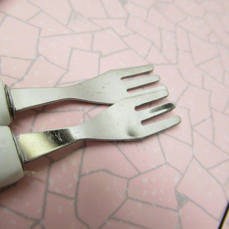おままごと用 陶器製 ピンクプリント カトラリー 9本セット【画像8】