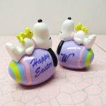 キャラクター  スヌーピー イースター ホイットマンズ PVCトイ 薄紫の卵に寝そべるスヌーピー