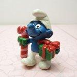 その他  スマーフ PVC フィギュア 20207 Christmas Candy Cane & Gift Smurf 1980年代