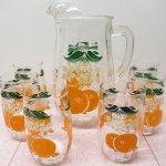 その他  オレンジ&フラワージュースグラス