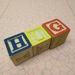 アルファベットブロック 木製 HUG
