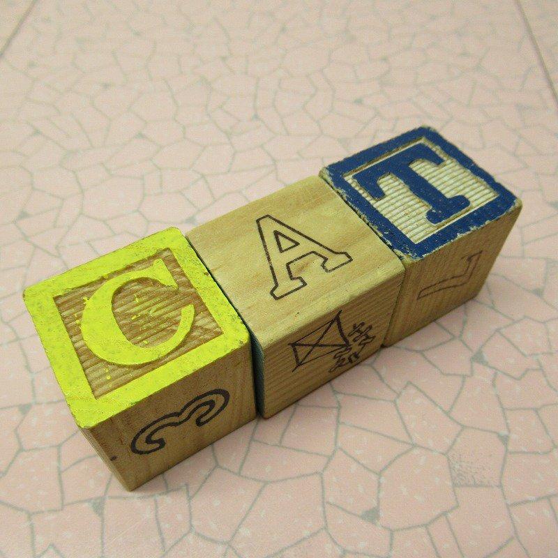 アルファベットブロック 木製 CAT