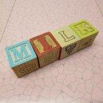 トランプ・パズル・ゲーム・塗り絵・ステンシルなど  アルファベットブロック 木製 MILK