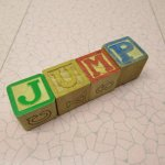 トランプ・パズル・ゲーム・塗り絵・ステンシルなど  アルファベットブロック 木製 JUMP