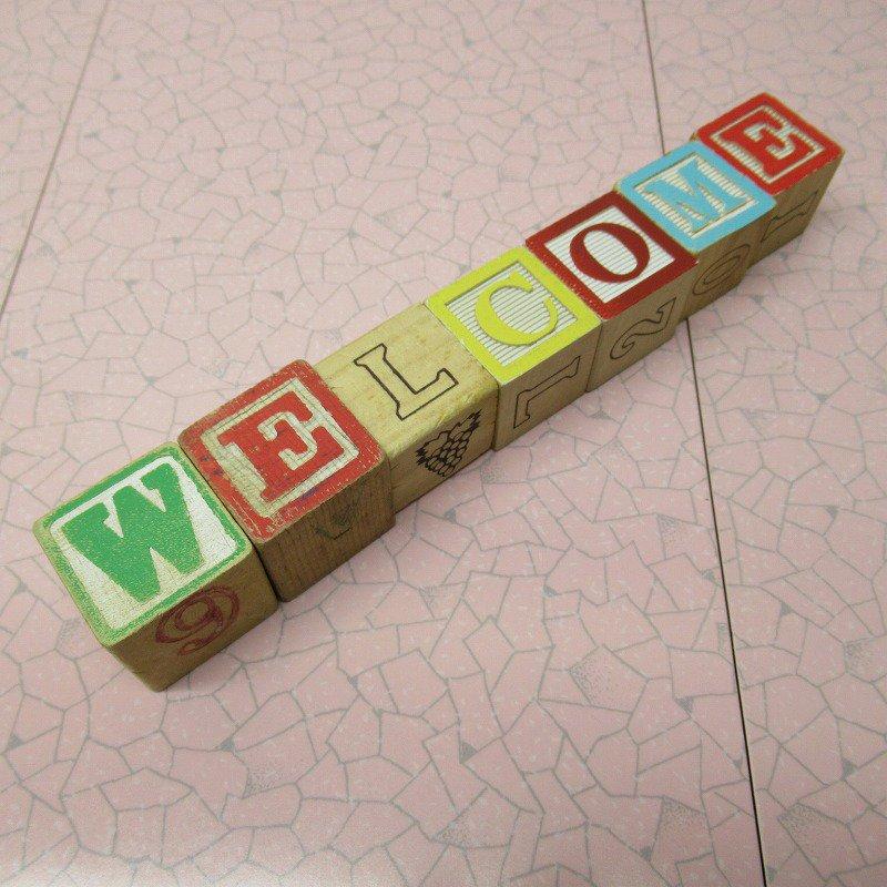 アルファベットブロック 木製 WELCOME