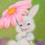 その他  ヴィンテージカード イースター バニーとピンクのお花の傘 未使用