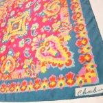 レディス  ヴィンテージスカーフ 米国輸出用日本製 ピンク&青&黄色アブストラクト 正方形