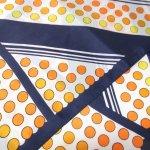 レディス  ヴィンテージスカーフ 米国輸出用日本製 水玉&ストライプ 黄色x濃紺 長方形ロング
