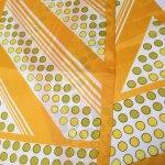 古着&服飾雑貨  ヴィンテージスカーフ 米国輸出用日本製 水玉&ストライプ 黄色xオレンジ 長方形ロング