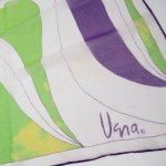 レディス  ヴィンテージスカーフ VERA 紫x黄色アブストラクト シフォン 正方形 アウトレット