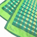 古着&服飾雑貨  ヴィンテージスカーフ VERA 緑x黄緑x黄色チェック 長方形 ロング