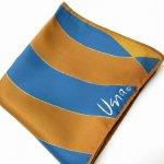 古着&服飾雑貨  ヴィンテージスカーフ VERA 青x茶色 ウェーブ 正方形