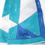 レディス  ヴィンテージスカーフ VERA 青x水色x白 アブストラクトスクエア 長方形ロング