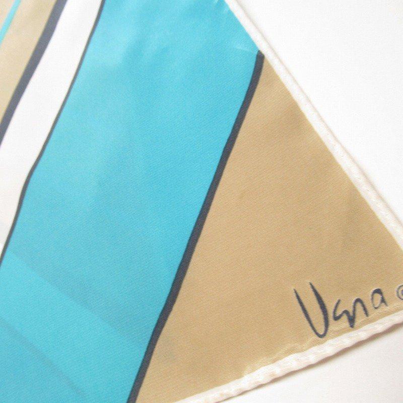 ヴィンテージスカーフ VERA 水色x薄茶 ストライプ 長方形 ロング【画像2】