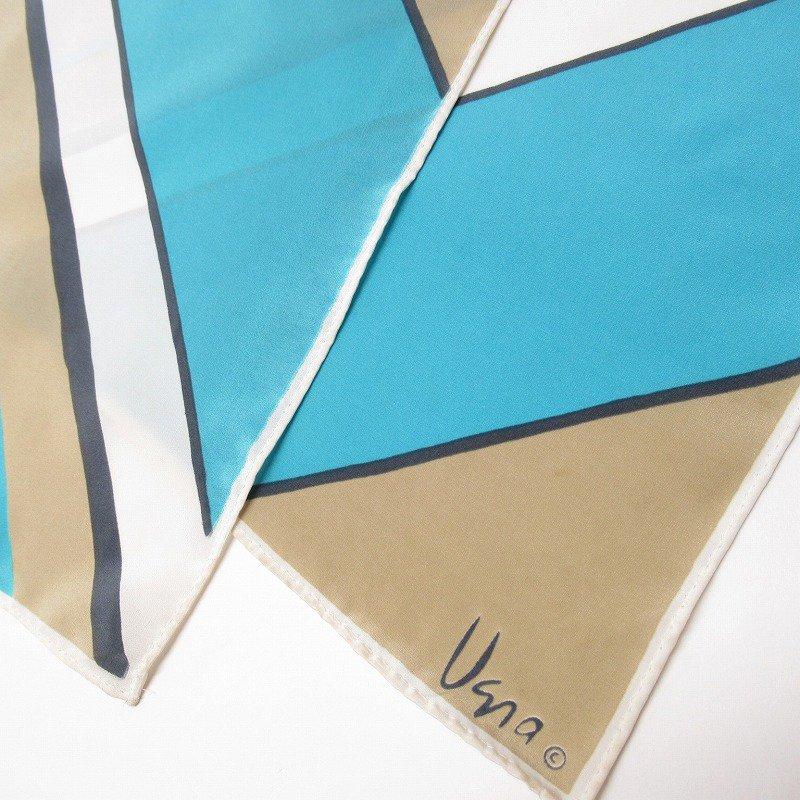 ヴィンテージスカーフ VERA 水色x薄茶 ストライプ 長方形 ロング【画像11】