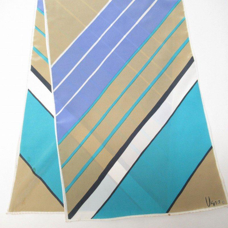 ヴィンテージスカーフ VERA 水色x薄茶 ストライプ 長方形 ロング【画像3】