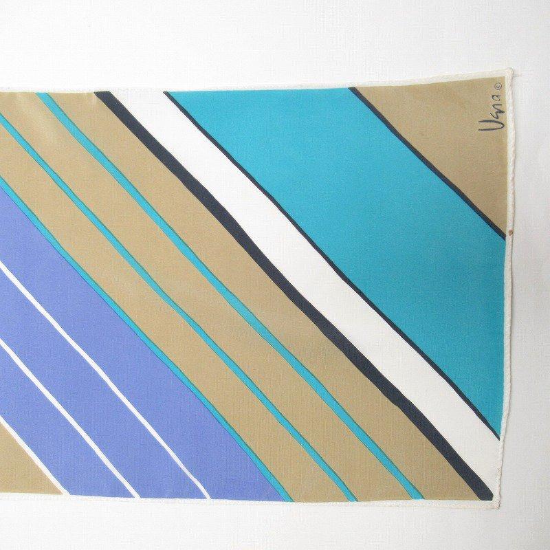 ヴィンテージスカーフ VERA 水色x薄茶 ストライプ 長方形 ロング【画像4】