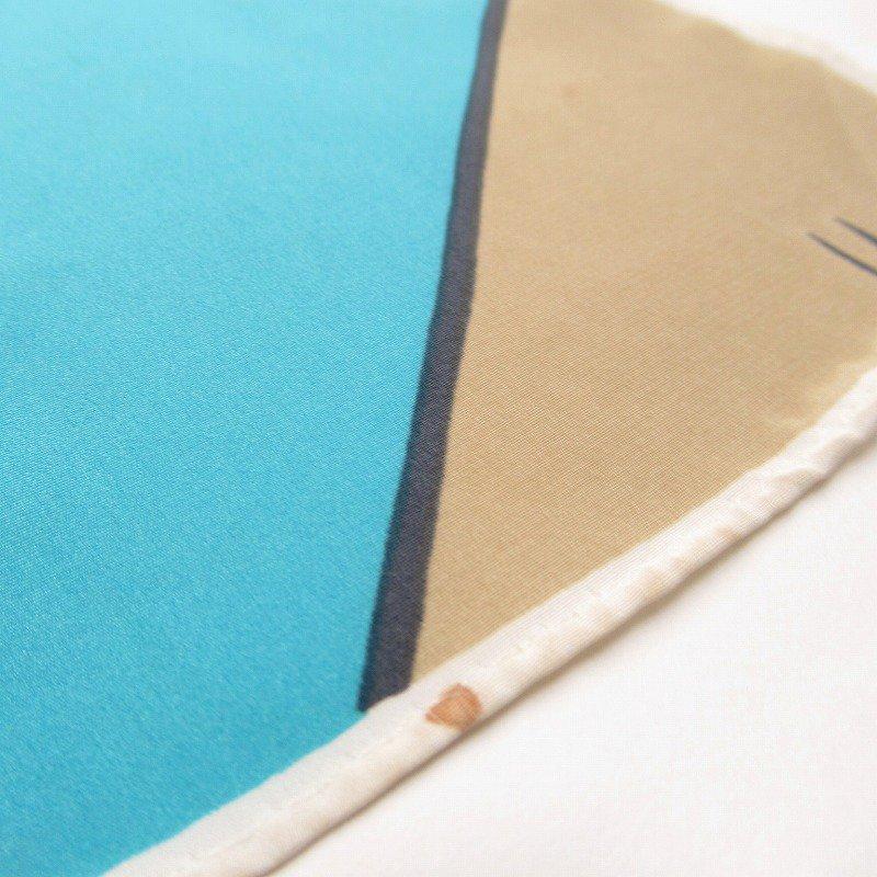 ヴィンテージスカーフ VERA 水色x薄茶 ストライプ 長方形 ロング【画像5】