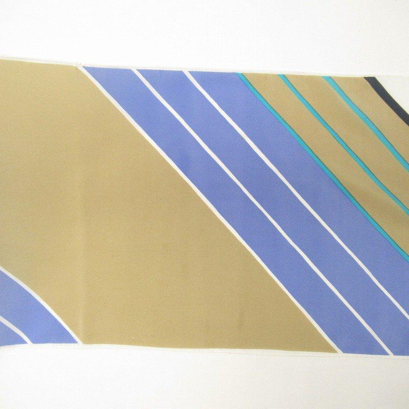 ヴィンテージスカーフ VERA 水色x薄茶 ストライプ 長方形 ロング【画像6】