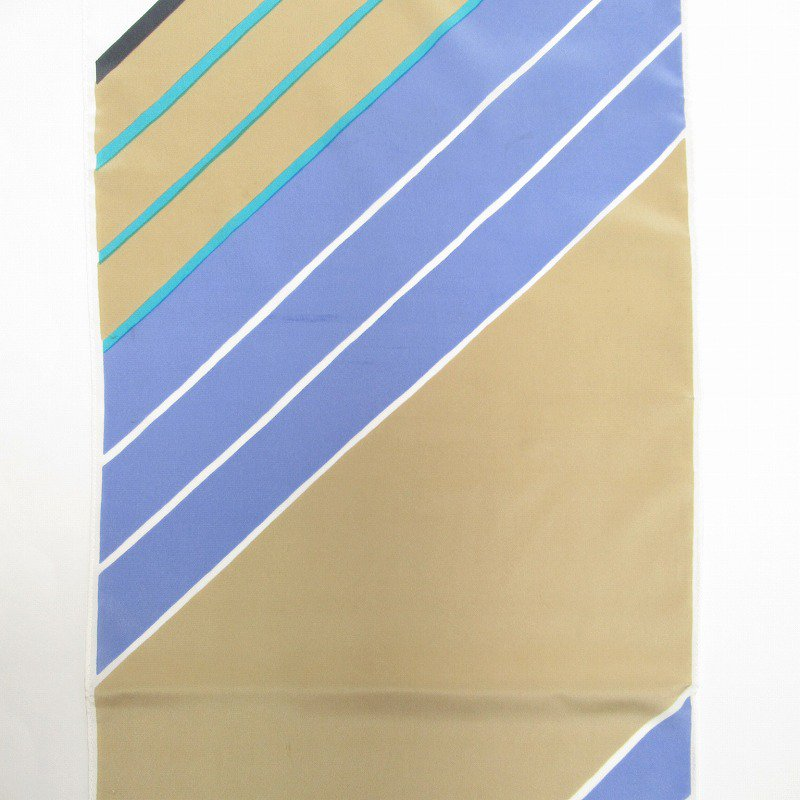 ヴィンテージスカーフ VERA 水色x薄茶 ストライプ 長方形 ロング【画像7】
