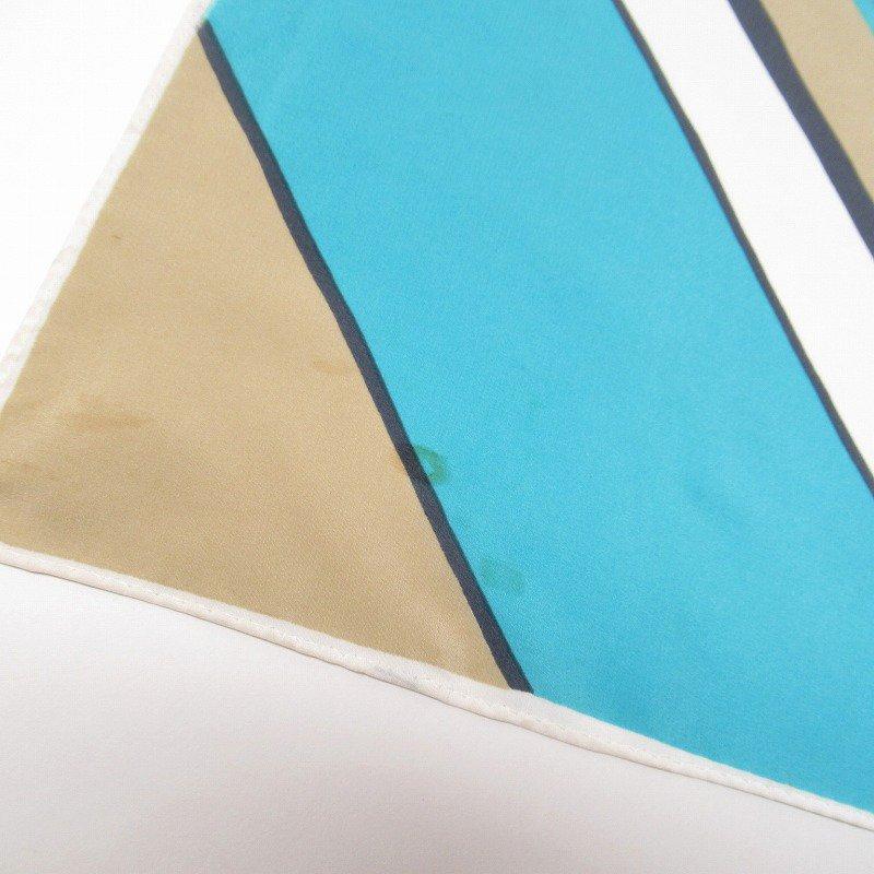 ヴィンテージスカーフ VERA 水色x薄茶 ストライプ 長方形 ロング【画像9】