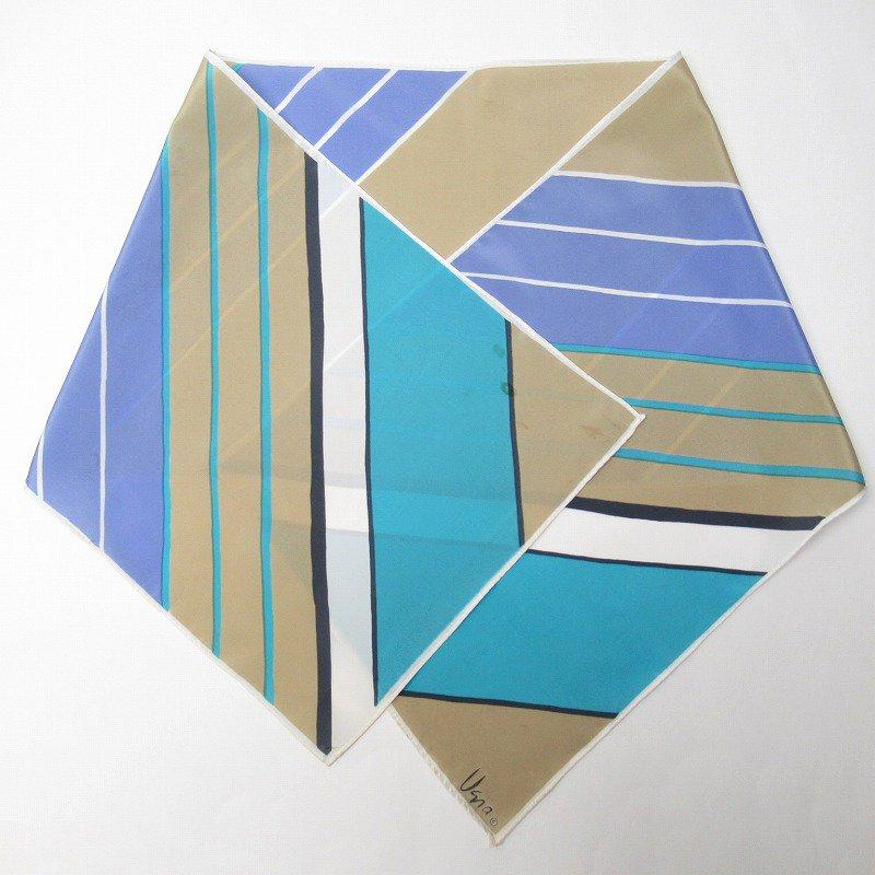 ヴィンテージスカーフ VERA 水色x薄茶 ストライプ 長方形 ロング【画像10】
