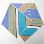 レディス  ヴィンテージスカーフ VERA 水色x薄茶 ストライプ 長方形 ロング