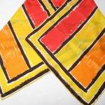 レディス  ヴィンテージスカーフ VERA 黄x茶x赤 ストライプ 長方形 ロング