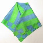 ファッション  ヴィンテージスカーフ VERA 緑x水色 スクエア 正方形