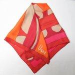 レディス  ヴィンテージスカーフ VERA 赤xピンクxオレンジ アブストラクト 正方形