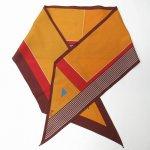 レディス  ヴィンテージスカーフ VERA 茶系アブストラクト ロング 長方形