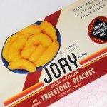 パッケージ&パッケージに味のある雑貨&チーズボックスなど  ラベルシート Jory Brand Peaches缶 未使用パッケージ紙