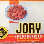 チケット、スコアパッドなどの紙物・紙モノ雑貨  ラベルシート Jory Brand Loganberries缶 未使用パッケージ紙