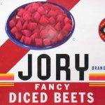 チケット、スコアパッドなどの紙物・紙モノ雑貨  ラベルシート Jory Brand Diced Beets缶 未使用パッケージ紙