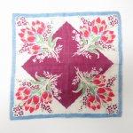 ファッション  ヴィンテージハンカチ 水色トリムx紫センターX赤のお花