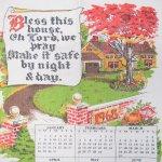 キッチン  ヴィンテージリネン 1968年カレンダー キッチンタオル