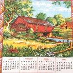 キッチン  ヴィンテージリネン 1973年カレンダー キッチンタオル