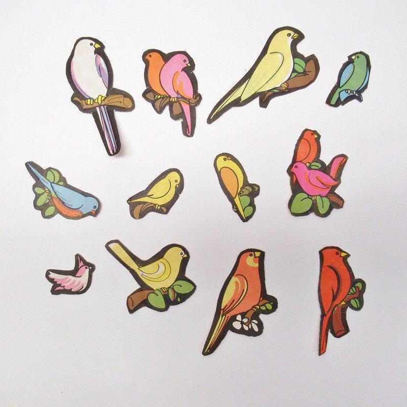 紙モノアソート 1960年代 鳥イラスト12枚セット