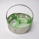 ディプレッショングラス  ディプレッショングラス ワセリンカラー ホルダー付き レリッシュトレイ