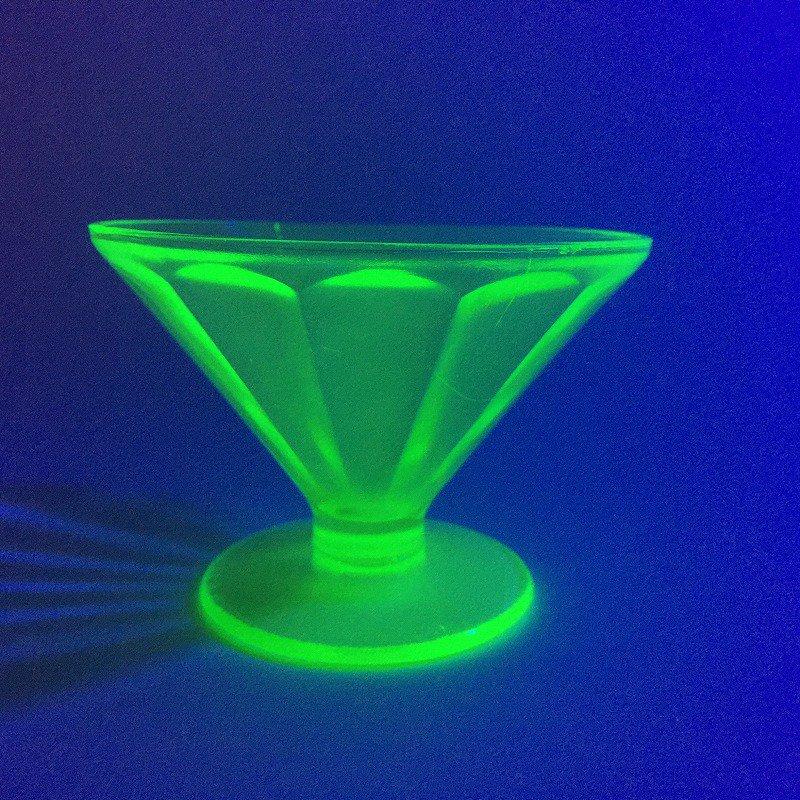 フェデラルグラス ディプレッショングラス ワセリンカラー シャーベットカップ アウトレット A【画像12】
