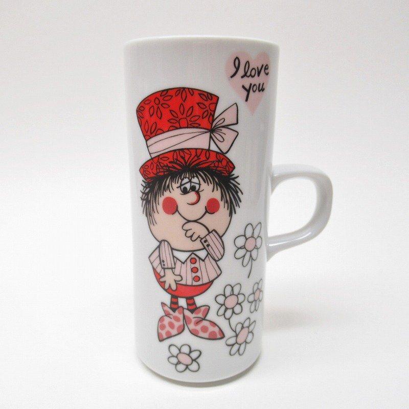 昭和レトロ 米国輸出用日本製 I LOVE YOU 陶器製 スリムマグ